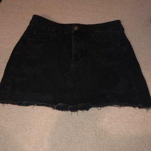 Black Ripped Jean Skirt